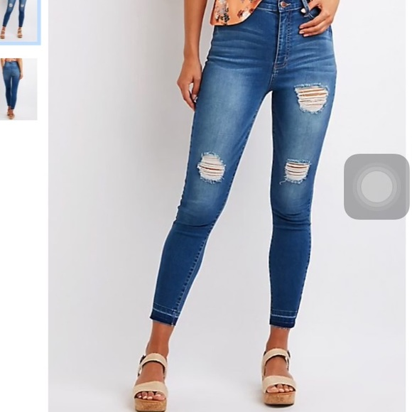 a925bf8e408a Charlotte Russe Refuge High Waisted Ripped Jeans. M 5b65eb2ad365be24f1c327c6